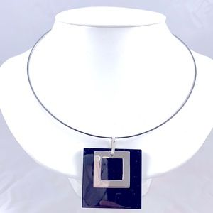 Sterling Silver & Resin Pendant Necklace